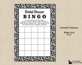 Bridal Shower Bingo Game- 5x7 - Black and White Damask - Instant Download - Printable Digital Template PDF