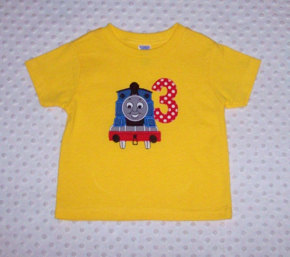 Sample sale train applique t shirt with applique age number 3 for Applique shirts for sale