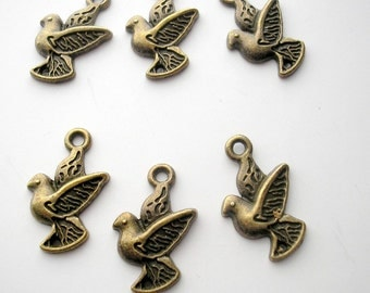 6 Flying Birds Charms - Brass