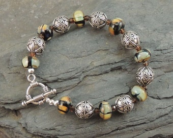 GRAND CANYON - Artisan Lampwork, Bali Silver Bracelet