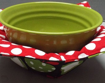 Microwave Bowl Cozy or Potholder Farmers Market Apples Fabric