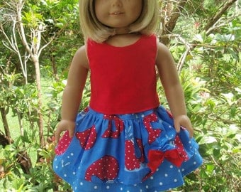 18 inch Girl Doll Clothes Whale Twirl Skirt Set