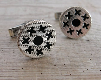 XOXO Cuff links Solid Sterling Silver with Black Enamel Cufflinks