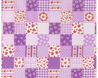 HALF YARD - PURPLE Patchwork - Flowers, Stripes, Dots, Roses, Gingham - Cosmo Textile Japanese Import Fabric
