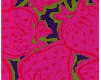 HALF YARD - Mega Pink Strawberries on Purple Blue - Kobayashi Imported Japanese