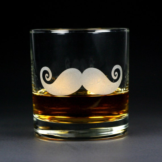 Mustache Lowball Glass - sandblasted glass for cocktails or scotch whiskey