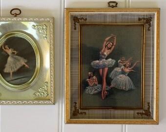 Pair of Framed Ballerina Prints - Shadow Boxes - Carina