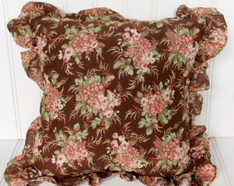 Vintage Cottage Style Pillow - Shabby Chic - Pink and Green Floral - Brown 14 Inch Accent Pillow