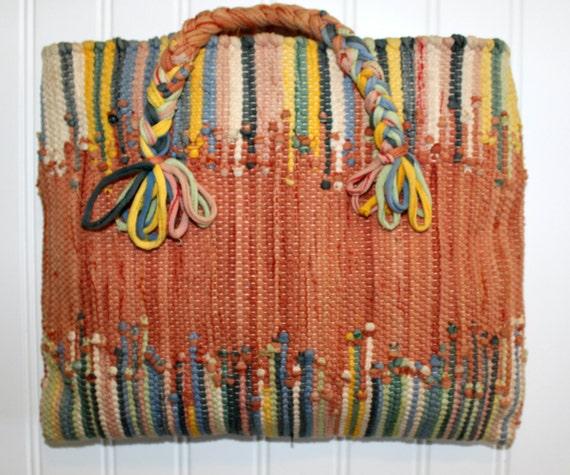 Vintage Rag Rug Tote Bag Purse Orange Blue Multi Color