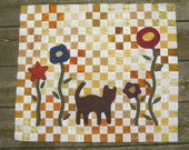 Quilt TOP -  Cat among the flowers