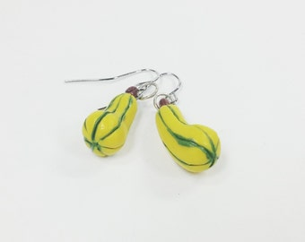 Yellow squash dangle earrings