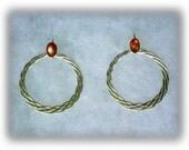 6x4mm Sunstone Cabochon Gemstones in 925 Sterling Silver Earwire Dangle Earrings