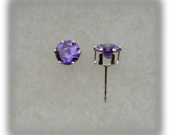 6mm Purple Cubic Zirconias in 925 Sterling Silver 6 Prong Stud Earrings  SnapsByAnthony
