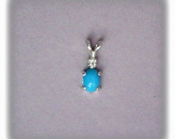 7x5mm Sleeping Beauty Turquoise Cabochon with 2mm White Topaz Gemstone Accent in 925 Sterling Silver Pendant Necklace