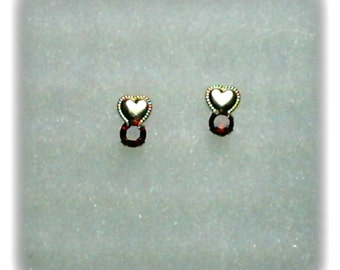 3mm Red Garnet Gemstones in 10k Yellow Gold Heart Stud Earrings