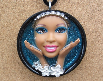 Exotic Zen  - Upcycled Barbie Doll Pendant