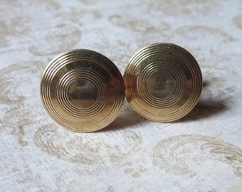 Vintage Swank Goldtone Cufflinks with Circular Pattern and Toggle Bar Closure, Retro Cufflinks for Business, Formal Occasion