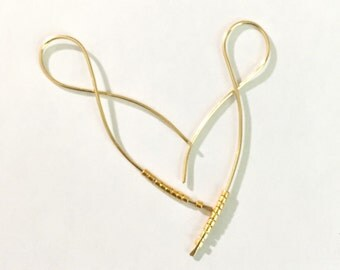 Simple Threader Earrings, Silver and Gold Earrings, Beaded Pull Through Earring, Classy Twist Earrings