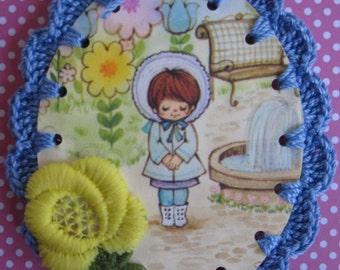 Sweet Garden Girl / Crochet Vintage Illustration Ornament / Card / Tag