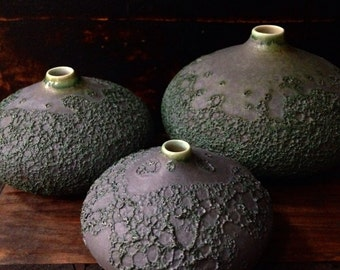 MADE TO ORDER-  set of 3 crater droplet vases in slate matte by sara paloma. Slate matte volcanic lava glaze organic geology earth strata
