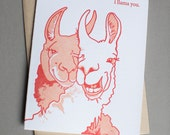 Llama, single letterpress card