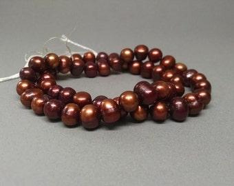 7mm Black Cherry Potato Pearls