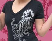 Womens SKULLOPUS Tshirt - Skull and Octopus shirt - Girls Cthulu Tee