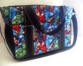 Extra Large Diaper bag Made of Marvel / Avengers Super Hero / Comic Book Fabrics - Diaper Bag - Marvel Diaper Bag - Avengers Diaper Bag