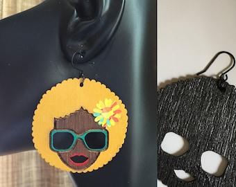 Afro Silhouette Wooden Earrings - Blonde