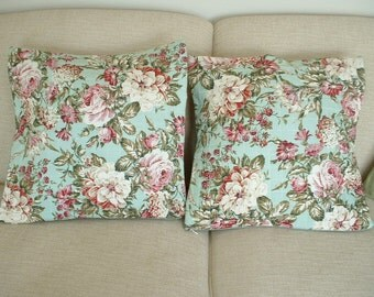 """Quilted Floral Pillow Cover - Set of Two - 21""""Square"""