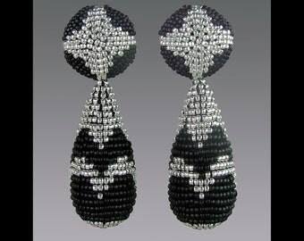 "Beaded Earrings, black and silver, Beadwork Earrings, Bead Work Earrings, Black and silver Earrings, Art Deco Earrings, ""Chrysler Building"""