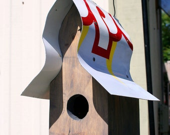 Small Handcrafted Birdhouse, Reclaimed Wood, Recycled, Upcycled, Grey Zebra