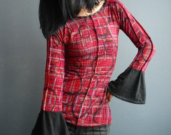 Recollections - iheartfink Handmade Hand Printed Womens Bell Sleeve Dark Red Plaid Print Jersey Top
