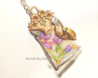 Violets Broken China Soldered Necklace Flower Basket Pattern Lorelie Kay Designs