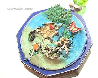 Hansel & Gretel Necklace Pocket Watch Necklace Mixed Media Storybook Theme Assemblage Pendant