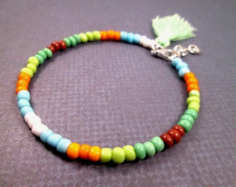 Tassel Bracelet, Silver Charm Bracelet, Earth Tone Glass Beaded, Bangle Bracelet, FREE Shipping U.S.