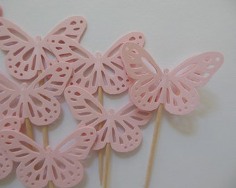 Butterfly Cupcake Toppers - Light Pink - Bridal Showers - Wedding Decorations - Baby Shower Decorations - Birthday Parties - Set of 12