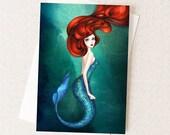 Disney Halloween Little Mermaid Card - Disney Ariel Card - Mermaid Card - Mermaid Artwork - Halloween Mermaid