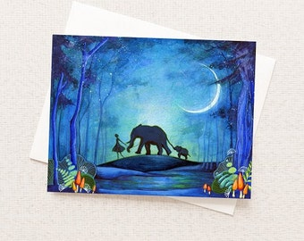ELEPHANT CARD - Elephant greeting card - Elephant Watercolor Painting - African safari card - Watercolour Animal Card - Elephant Tapestry