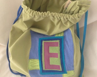 Upcycled Lined Custom Bag made from tShirt pieces and parts ONE letter initial