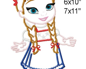 Patriotic 4th of July Princess Sister Machine Embroidery Applique Pattern 5x7 6x10 7x11 INSTANT DOWNLOAD