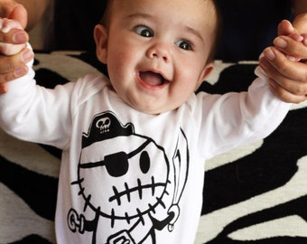 Zombie Pirate (All Sizes) Baby romper bodysuit onepiece All in one vest Punk rocker goth baby clothing by Love Rocky the Zombie