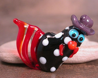 Cowboy Chicken Rooster Lampwork Glass Focal Bead Black White Red Purple Hat Divine Spark Designs SRA LeTeam