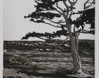 Landscape etching aquatint, seascape, San Juan Islands