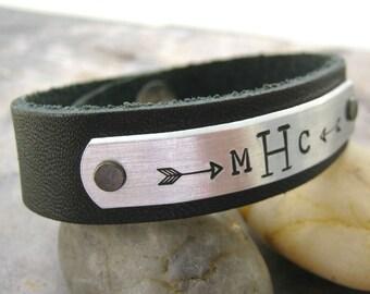 Monogram Bracelet, Monogram Leather Cuff, men's monogram cuff, unisex monogram cuff, pick leather color, initial jewelry, men's bracelet