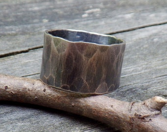 Man Ring ...11.5mm wide RUGGED weathered sterling silver ring men's rustic ring mens wide band ring mens wedding band rustic wedding band