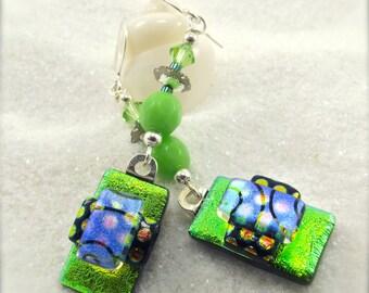 Dichroic fused glass earrings, Lime green earrings, Fused glass jewelry, Dichroic beads, Hana Sakura, Glass fusion,Unusual earrings,handmade