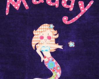 Personalized Large Purple Velour Beach Towel with a Beautiful Mermaid, Pool Towel, Kids Bath Towel,Bridal Party Gift, Camp Towel, Swim Towel