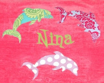 Personalized Large Pink Velour Beach Towel with Dolphins, Dolphin Gift, Kids Personalized Towel, Kids Bath Towel, Baby Towel,Camp Towel