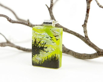 Dichroic Fused Glass Jewelry- Tree Necklace- Fused Glass-Dichroic Glass Tree- Dichroic Pendant